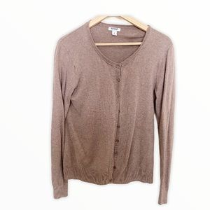 Preppy Taupe Soft Brown Cardigan